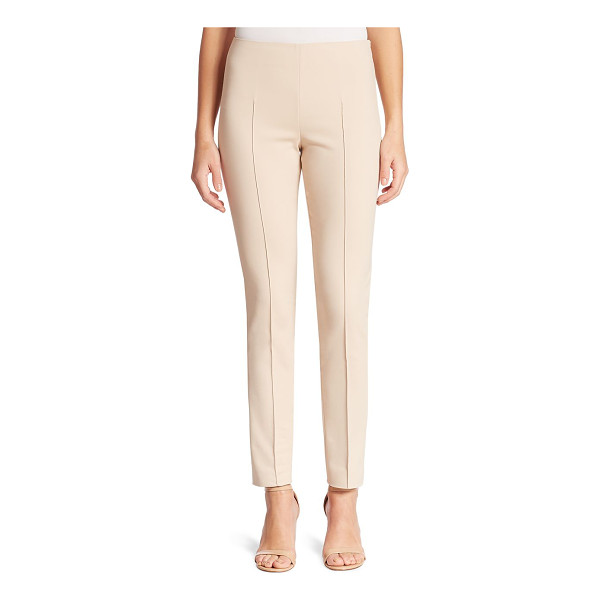 AKRIS melissa stretch techno cotton pants - Slim silhouette in stretch cotton blend. Flat front. Raised...