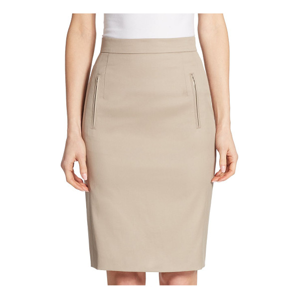 AKRIS PUNTO zip pocket pencil skirt - EXCLUSIVELY AT SAKS FIFTH AVENUE. Stretch cotton-blend...