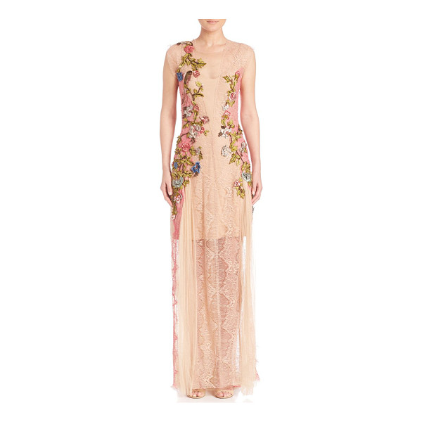 ALBERTA FERRETTI floral applique lace gown - Luxe lace gown with stunning floral embellishments....
