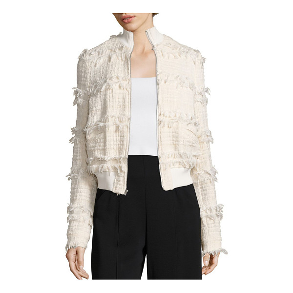 A.L.C. judd tweed jacket - Bomber jacket-inspired style in fringed tweed. Stand...