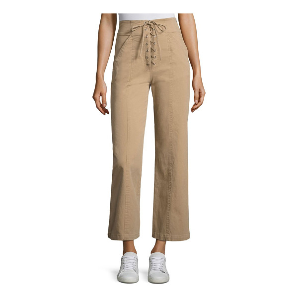 A.L.C. kyt lace-up wide-leg pant - Lace-up wide-leg pants crafted in stretch cotton. Banded...