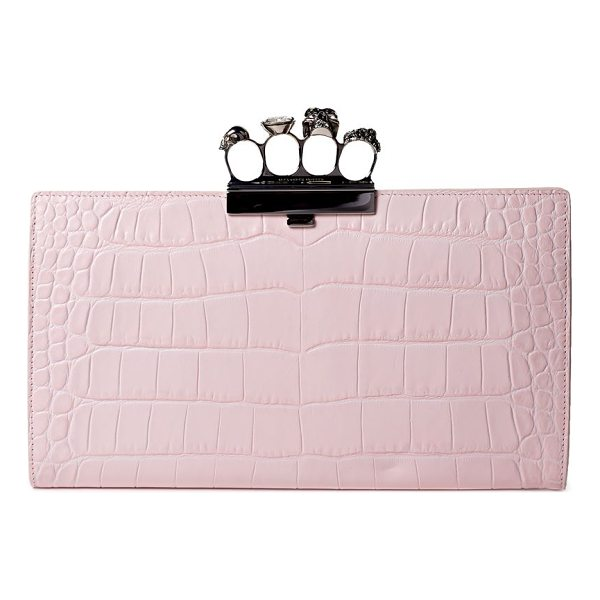 ALEXANDER MCQUEEN crocodile-embossed knuckle flat leather clutch - Bejeweled closure emphasizes crocodile-embossed leather...
