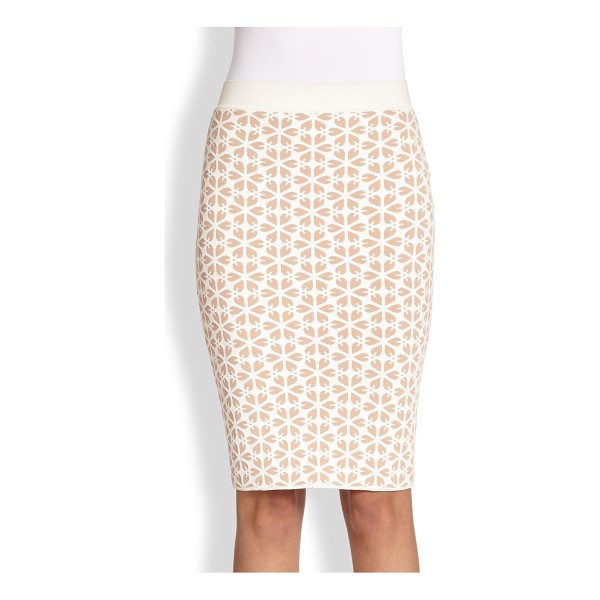 ALEXANDER MCQUEEN Floral jacquard knit skirt - A graphic floral jacquard adds dimension to this sleek knit...