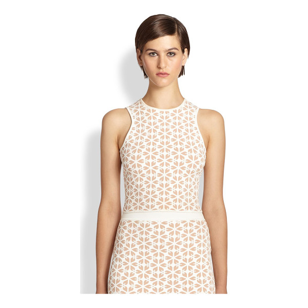 ALEXANDER MCQUEEN Floral jacquard knit top - A graphic floral jacquard adds dimension to this sleek knit...
