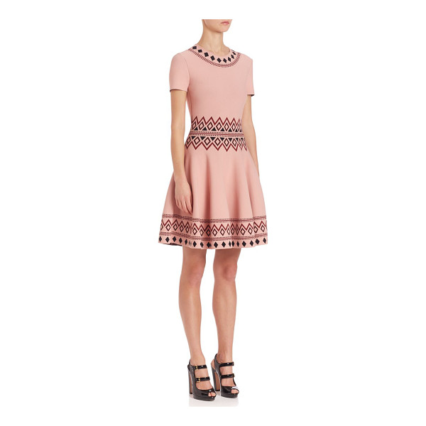 ALEXANDER MCQUEEN geometric jacquard fit & flare knit dress - Pastel-hued dress with geometric jacquard patterns....
