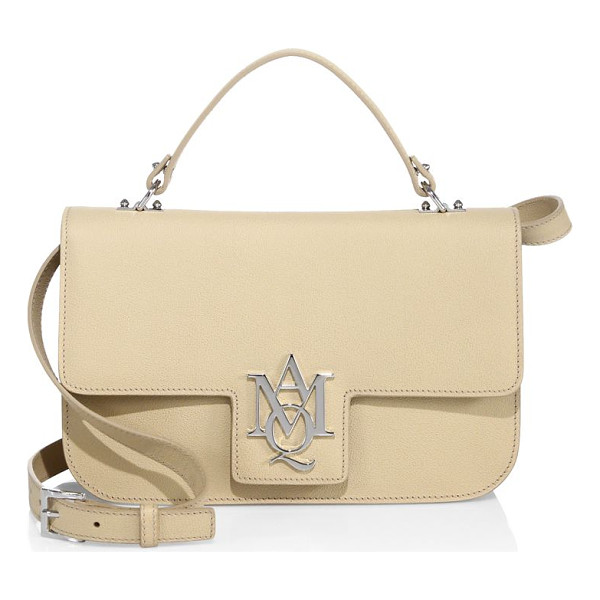 ALEXANDER MCQUEEN insignia large leather satchel - Structured leather satchel with polished insignia. Top