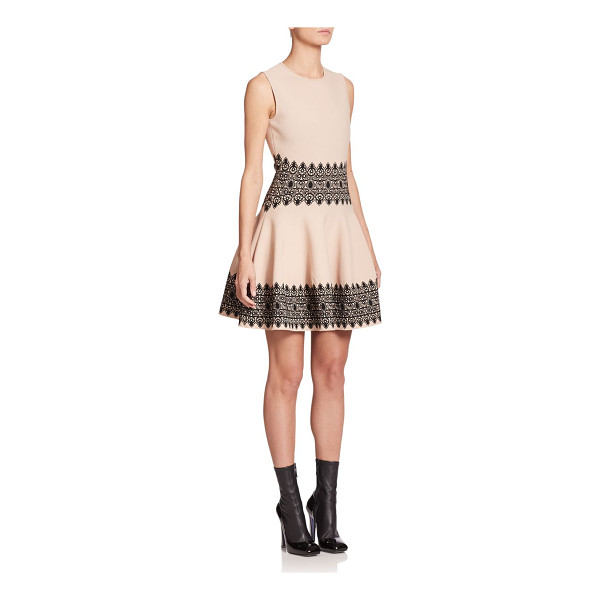 ALEXANDER MCQUEEN Intarsia fit-&-flare dress - Intricate intarsia accents embellish the waistline and hem...