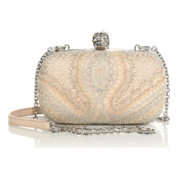 ALEXANDER MCQUEEN Lace skull box clutch - A delicate lace overlay shimmers with metallic threads and...