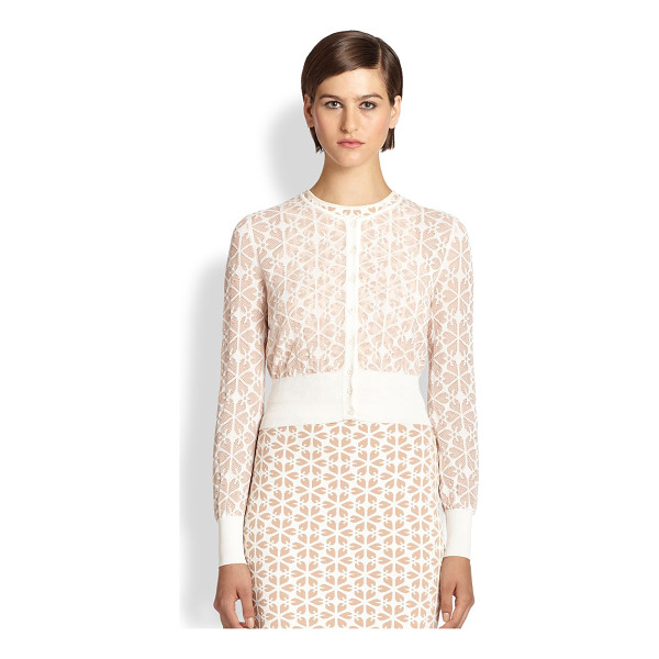ALEXANDER MCQUEEN Transparent jacquard cardigan - An intricate floral jacquard adds dimension to this sheer...