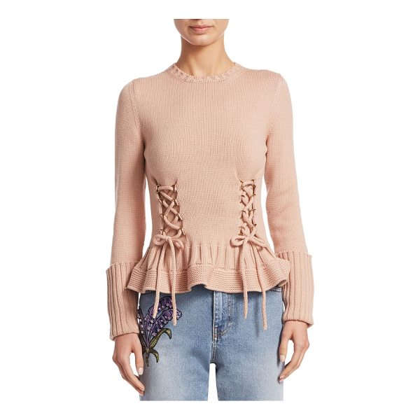 ALEXANDER MCQUEEN wool lace-up sweater - Wool knit sweater with lace-up detailing. Crewneck. Long...