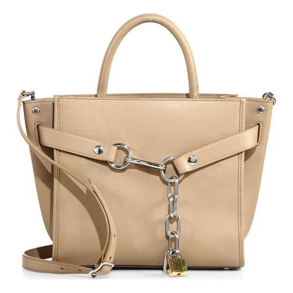 ALEXANDER WANG attica chain leather satchel - Chic downtown shoulder bag, with bold chain detail. Center...