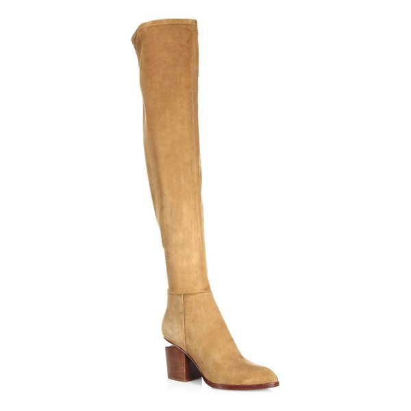 ALEXANDER WANG gabi thigh high stretch suede boots - Suede thigh high boots with a stacked heel. Stacked heel,...