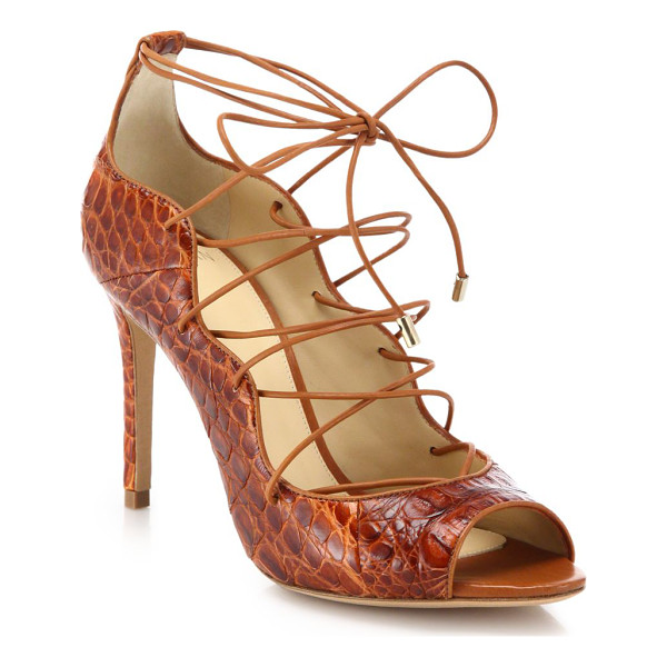 ALEXANDRE BIRMAN Crocodile lace-up sandals - Sexy lace-up sandal in bold crocodileSelf-covered heel,...