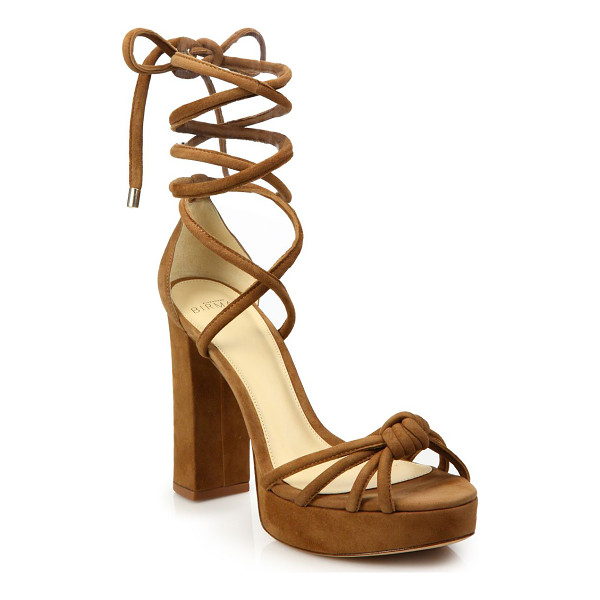 ALEXANDRE BIRMAN jannele knotted suede ankle-wrap block heel sandals - Strappy knotted suede ankle-wrap sandal on block heel.