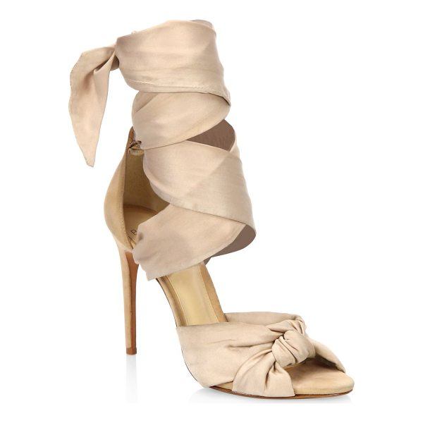 ALEXANDRE BIRMAN katherine silk ankle-wrap sandals - Elegant knotted satin sandal with wide ankle wrap. Covered...
