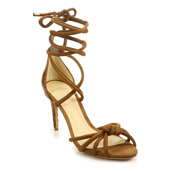 ALEXANDRE BIRMAN lanna suede & crocodile ankle-wrap sandals - Strappy knotted suede sandal with luxe crocodile heel....
