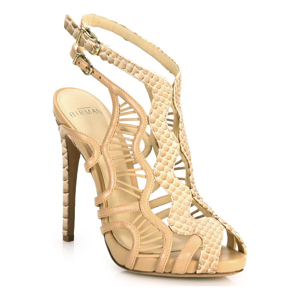 ALEXANDRE BIRMAN loretta python & leather cutout cage sandals - Striking python accents wavy leather cage sandal. Covered...