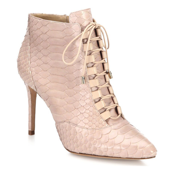 ALEXANDRE BIRMAN Mally python lace-up booties - Victorian-style lace-up bootie in luxe python. Self covered...