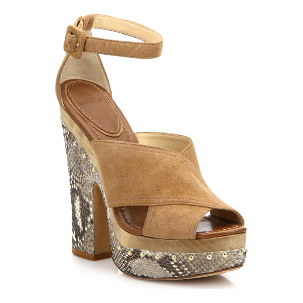 ALEXANDRE BIRMAN Peggy suede & python platform clog sandals - A naturalistic, wooden midsole grounds this chunky...