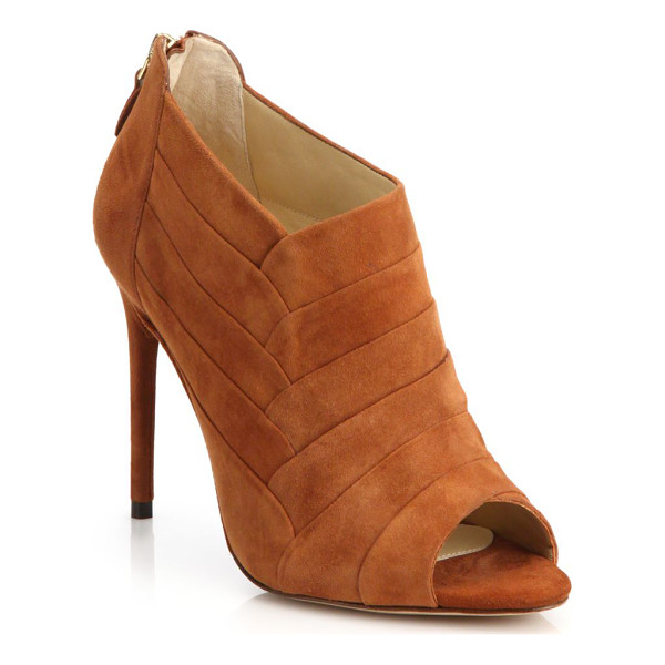 ALEXANDRE BIRMAN Petals suede peep-toe ankle booties - Paneled construction lends a petal-like look to these...
