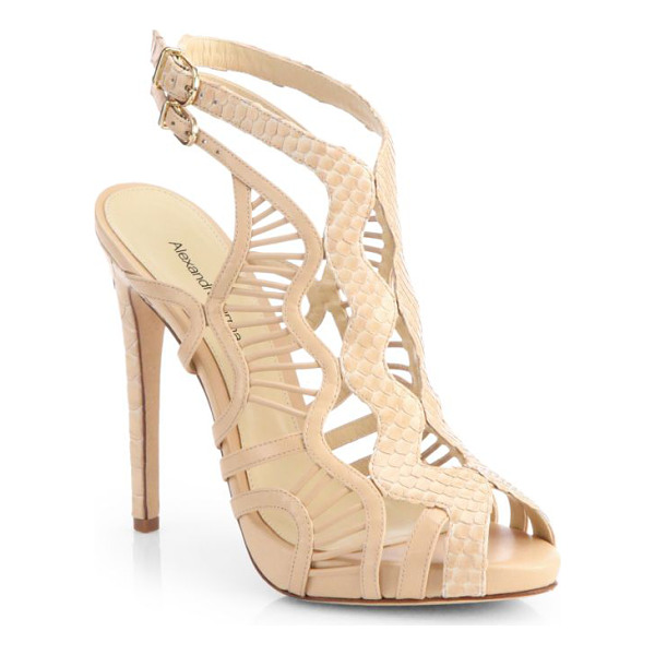ALEXANDRE BIRMAN python & leather cutout sandals - Smooth leather is paired with genuine python in a towering...
