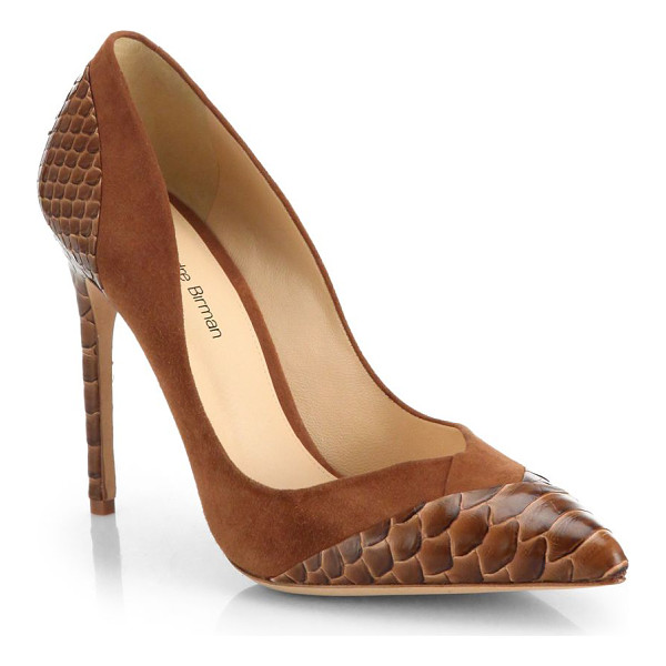 ALEXANDRE BIRMAN Python & suede pumps - An ever-classic point-toe pump is elegantly updated in luxe...