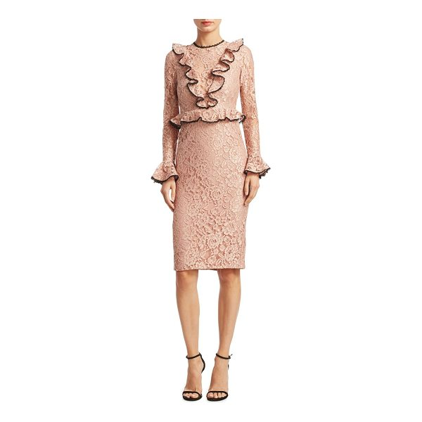 ALEXIS mariette lace sheath dress - Clasicc top finished with ruffled and scalloped trim...