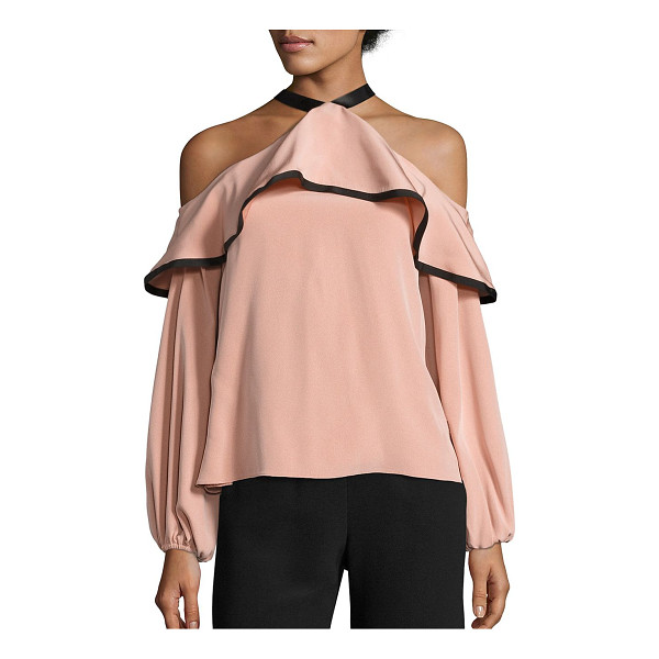 ALEXIS malia cold-shoulder choker top - Gorgeous cold-shoulder choker top with ruffled overlay....