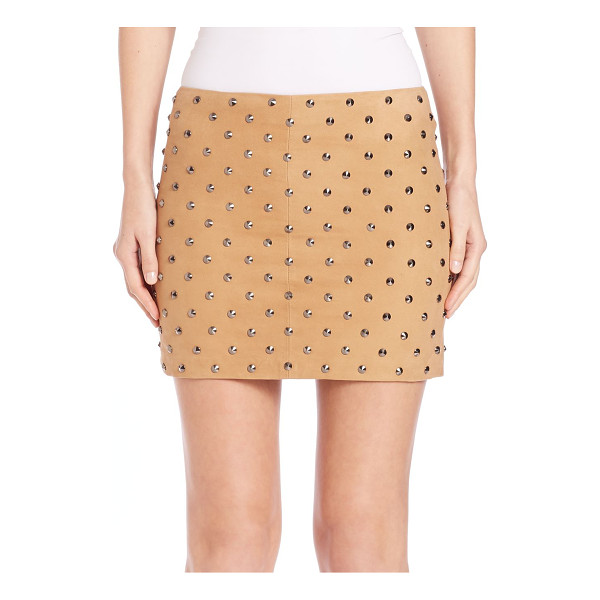 ALICE + OLIVIA Elana studded suede skirt - Allover studding excites this soft suede miniExposed back...