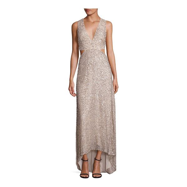 ALICE + OLIVIA juelia embellished hi-lo gown - Allover embellishing amplifies this elegant hi-lo...