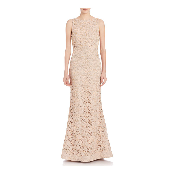 ALICE + OLIVIA kacie embroidered open back gown - An alluring open back lends drama to this embroidered gown....