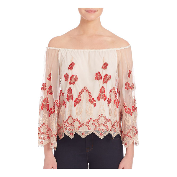 ALICE + OLIVIA Priya embroidered blouse - Sheer feminine top with pretty floral embroidery....