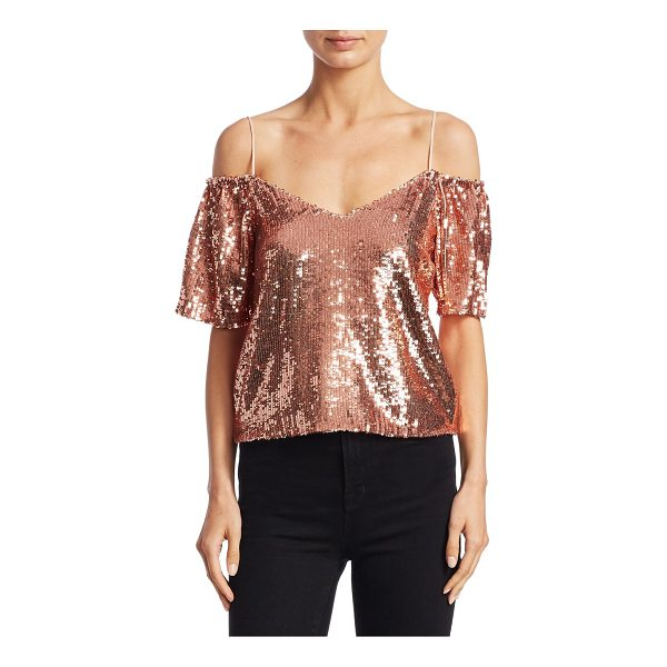 ALICE + OLIVIA agatha cold-shoulder top - EXCLUSIVELY AT SAKS.COM.Elegant top featuring allover...