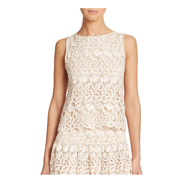 ALICE + OLIVIA Amal sleeveless lace top - This sleeveless boatneck top in romantic lace is an instant...
