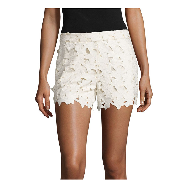 ALICE + OLIVIA amaris faux leather & lace shorts - Faux leather shorts with scalloped lace overlay. Banded...