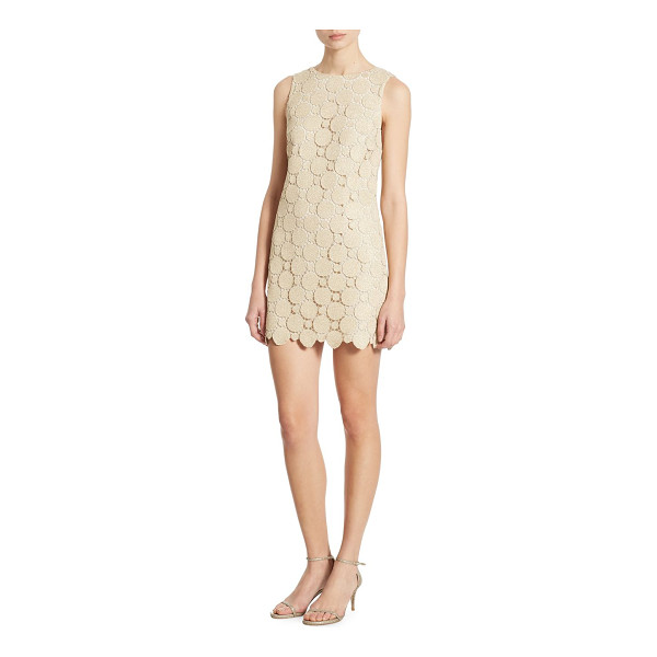 ALICE + OLIVIA clyde metallic lace shift dress - A-line shift dress in shimmering medallion lace. Boatneck....