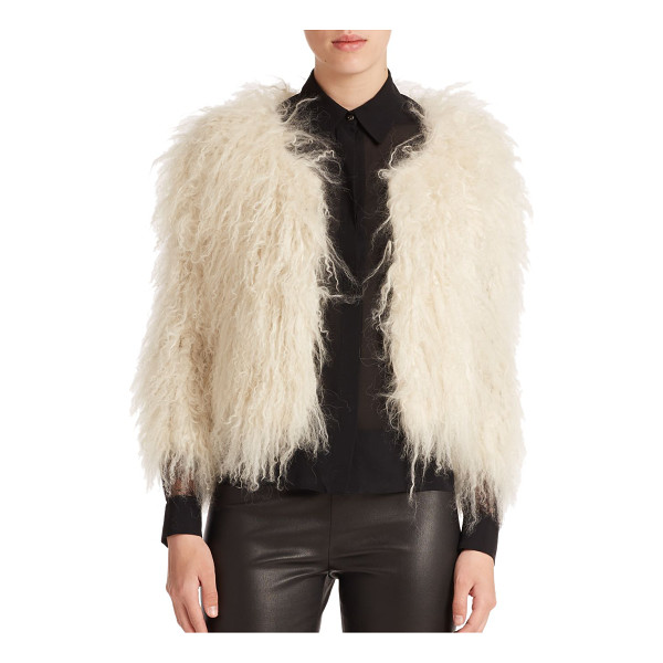 ALICE + OLIVIA Cropped fur jacket - Dripping lamb fur is both edgy and elegant in this cropped,...
