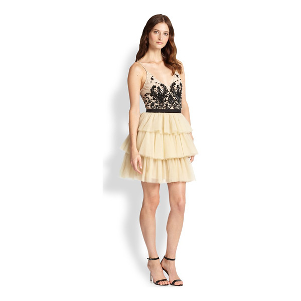 ALICE + OLIVIA Drury spaghetti-strap tiered dress - A stunning embroidered lace bodice with slender straps tops...