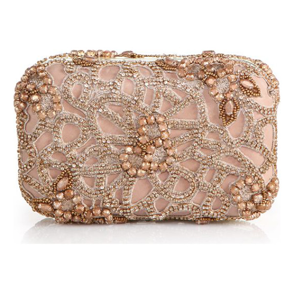 ALICE + OLIVIA Embellished box clutch - A lattice of delicate rhinestones give this hard-shell...