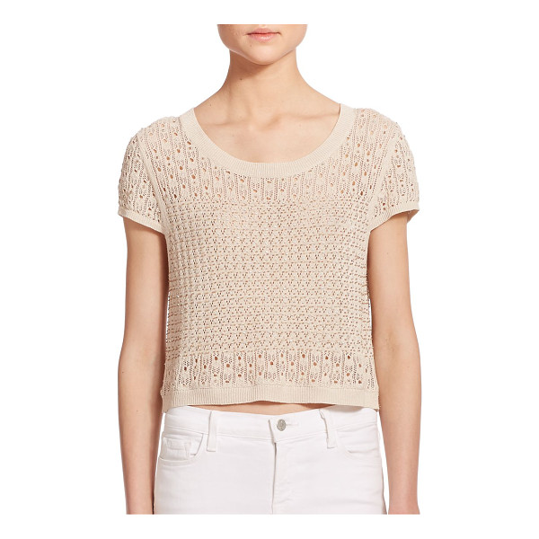 ALICE + OLIVIA Ester beaded pointelle knit crop top - The airy open-work patterns of pointelle knit makes for the...