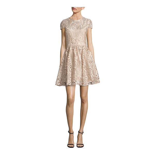 ALICE + OLIVIA gracia lace fit-&-flare dress - Fit-&-flare style in floral-and-paisley lace. Jewelneck....