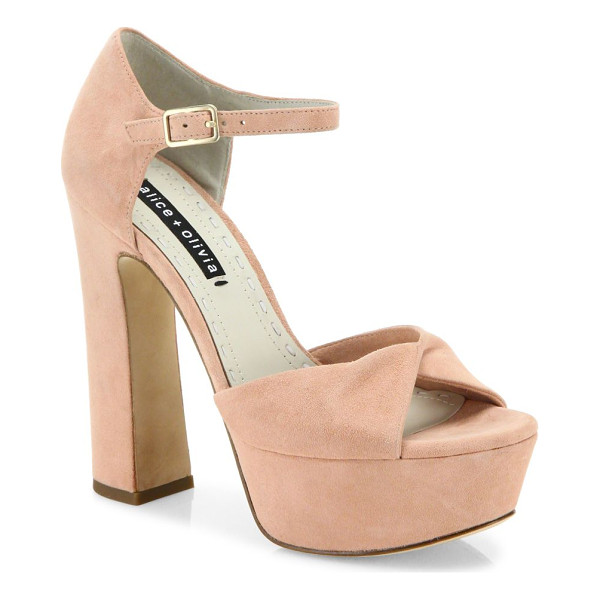 ALICE + OLIVIA layla suede platform sandals - Retro-chic suede platform sandal with twisted toe band.
