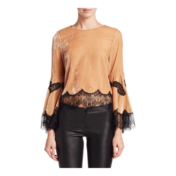 ALICE + OLIVIA levine bell sleeve blouse - Chic velvet top with lace details. Roundneck. Long bell...