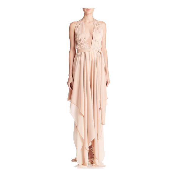ALICE + OLIVIA Lyndon belted stretch silk halter dress - This ethereal halter dress is beautifully cut from swathes...