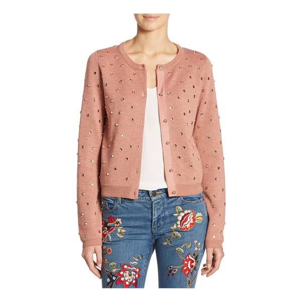 ALICE + OLIVIA rhuty rhinestone cardigan - Wool-blend cardigan with allover studs accents. Roundneck....