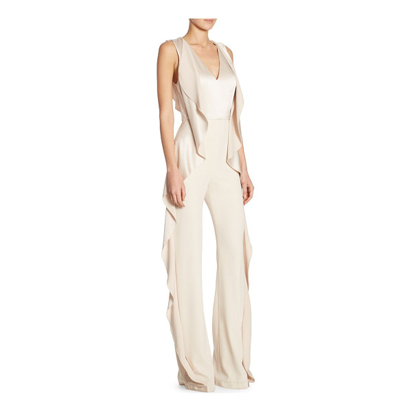 ALICE + OLIVIA sarandon side ruffle jumpsuit - On-trend jumpsuit with ruffle details at sides.V-neck....