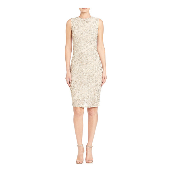 ALICE + OLIVIA sitara embellished dress - Sequined dress with asymmetrical stripes. Roundneck....