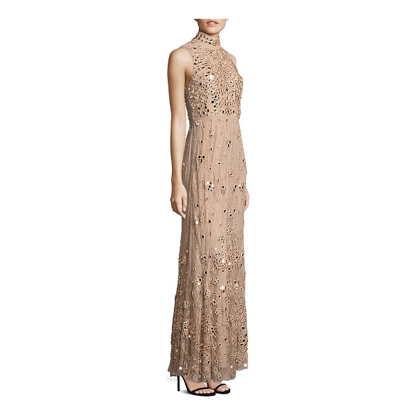 ALICE + OLIVIA susanne embellished lace gown - Mirror-like embellishment gleams from lace gown. Mockneck....