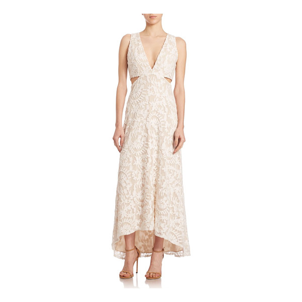 ALICE + OLIVIA suzi hi-lo maxi dress - Embroidered maxi dress with cutouts and hi-lo...