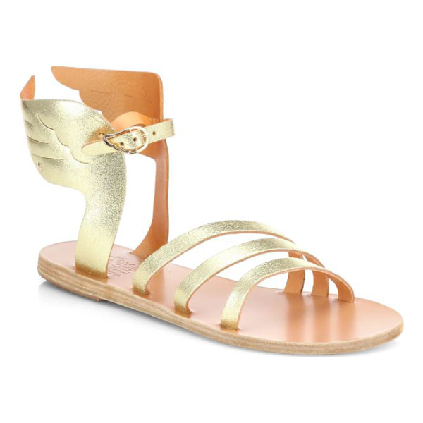 ANCIENT GREEK SANDALS Ikaria winged metallic leather sandals - You'll soar above the rest sporting these artfully tailored...